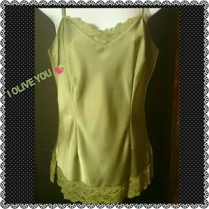 OLIVE  LACE TRIM LAYERING TOP